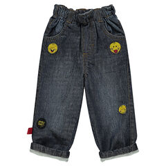 Jeans effet used et crinkle avec patchs Smiley