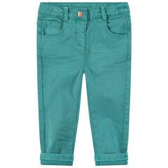 Pantalon slim en coton surteint effet crinkle avec coeurs brodés à la taille