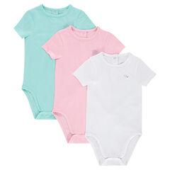 Lot de 3 bodies manches courtes unis en jersey avec logo printé