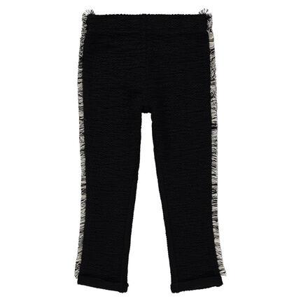 Pantalon en molleton fantaisie effet tweed avec franges