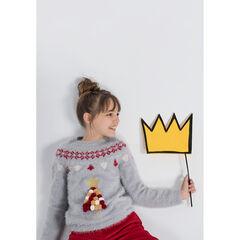 Junior - Pull de Noël en tricot poil avec pompons colorés forme sapin