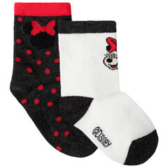 Lot de 2 paires de chaussettes assorties à pois / motif Minnie