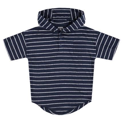 Junior - Tee-shirt manches courtes à capuche avec rayures all-over