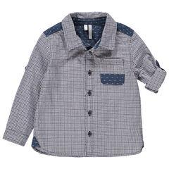 Chemise manches longues à carreaux avec empiècements à motif jacquard