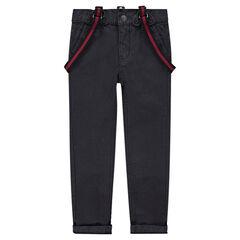 Pantalon en toile uni avec bretelles ajustables amovibles