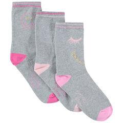 Lot de 3 paires de chaussettes unies avec motif Smiley en jacquard