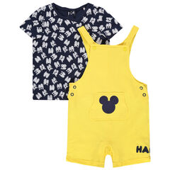Ensemble t-shirt print yeux et salopette jaune Mickey Disney