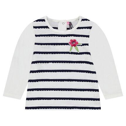 Tee-shirt manches longues avec rayures festonnées et fleur brodée