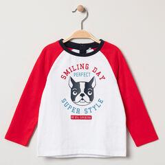 T-shirt manches longues bicolore print bouledogue français