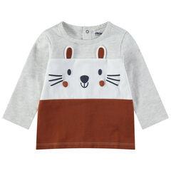 T-shirt manches longues en jersey tricolore avec détails printés