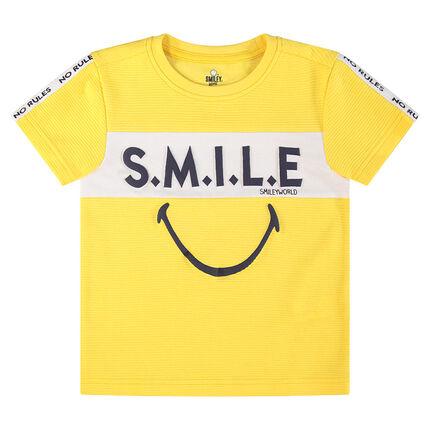 Tee-shirt manches courtes avec inscriptions et Smiley printés
