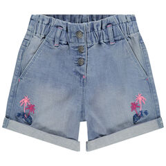 Short en jean élastiqué à palmiers brodés