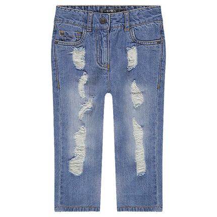 Jeans coupe boyfriend avec usures sur les jambes