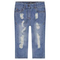 Junior - Jeans coupe boyfriend avec usures sur les jambes