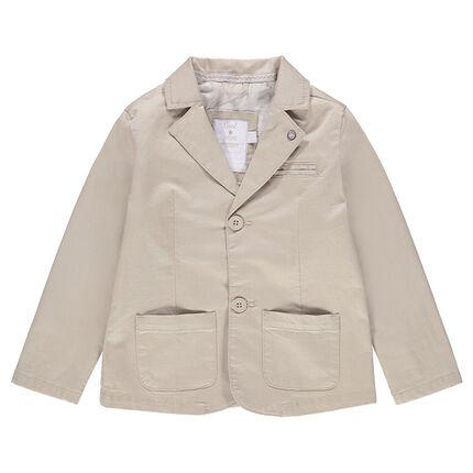 Blazer de cérémonie uni en coton avec poches