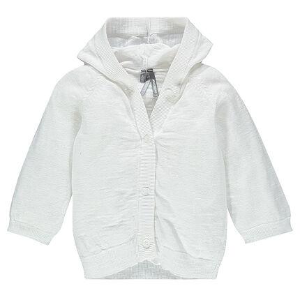 Gilet à capuche en tricot slub uni