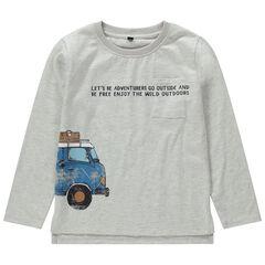 T-shirt manches longues en jersey avec voiture printée effet crinkle