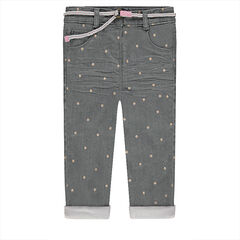Jeans effet crinkle avec étoiles all-over et ceinture amovible