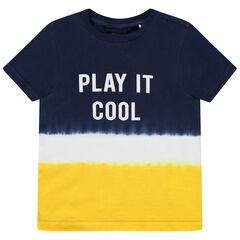 T-shirt manches courtes tricolore effet tie and dye à message