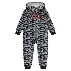 Junior - Surpyjama en polaire avec motif army all-over