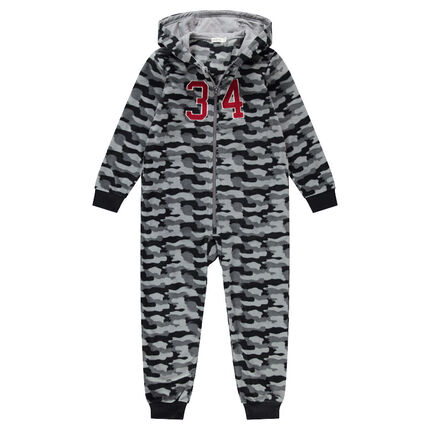 Junior - Surpyjama en polaire avec motif army all-over