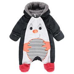 Combi-pilote en velours doublée sherpa avec motif pingouin brodé