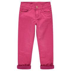 Pantalon en twill effet crinkle doublé polaire