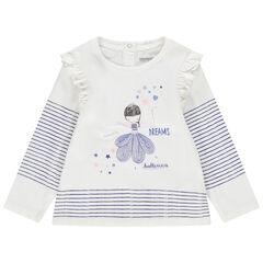T-shirt manches longues en coton à danseuse brodée et rayures