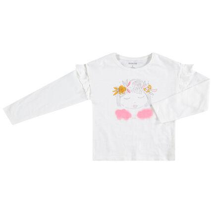 T-shirt manches longues en jersey avec fillette printée