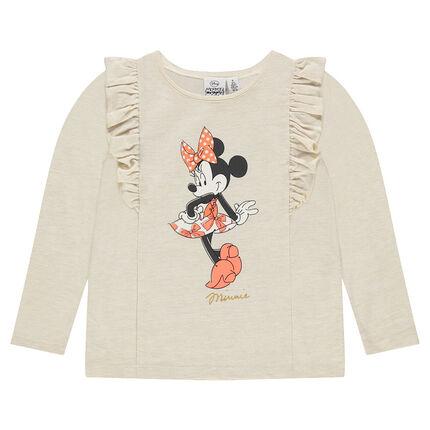 Tee-shirt manches longues en molleton fin à volants et print Disney Minnie