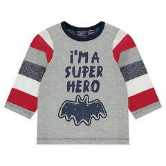 Tee-shirt manches longues avec message et serti BATMAN printés
