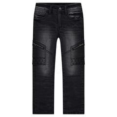 Jeans coupe slim effet used avec poches zippées