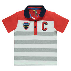 Polo manches courtes rayé en jersey avec badges