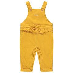 Salopette longue en velours jaune avec volant et noeud