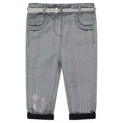 Pantalon à carreaux doublé jersey avec ceinture argentée amovible