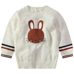 Pull en tricot écru avec lapin print et ouverture au dos