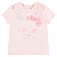 Tee-shirt manches courtes en jersey avec lapin printé et fleurs en relief