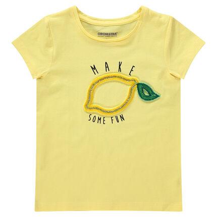 Tee-shirt manches courtes en jersey avec motif fantaisie en relief