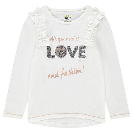 Tee-shirt manches longues en jersey avec ©Smiley en sequins