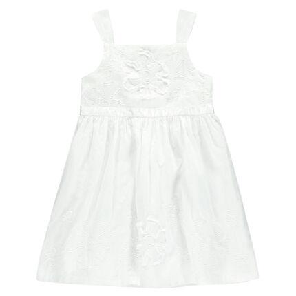 Robe blanche en voile de coton et tulle