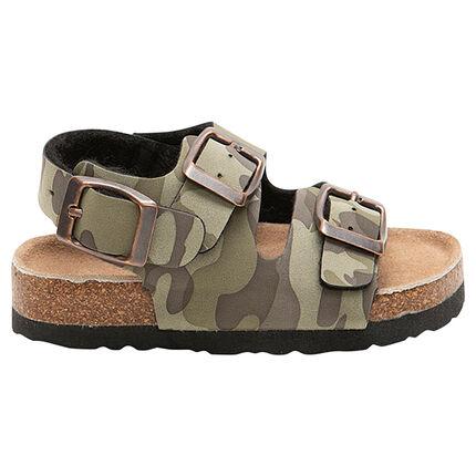 Nu-pieds texturés avec motif army all-over et semelle effet liège DU 20 AU 23
