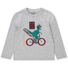 T-shirt manches longues en jersey avec dino printé