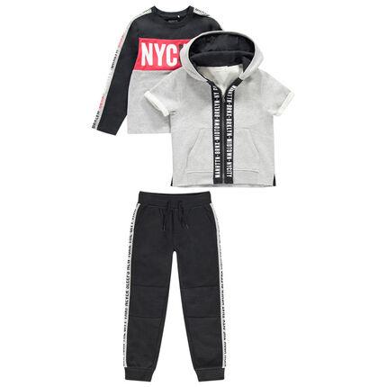 Junior - Jogging en molleton avec sweat, gilet manches courtes et pantalon à bandes