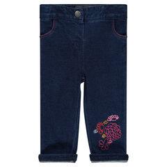 Pantalon en molleton effet jeans brodé