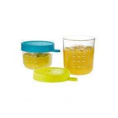 Set de 2 pots de conservation en verre 150 et 250 ml – Bleu/vert