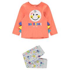 Pyjama en jersey avec prints ©Smiley et empiècements en relief