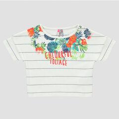 Tee-shirt court manches courtes rayé et print fleurs