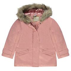 Manteau effet drap de laine doublé sherpa