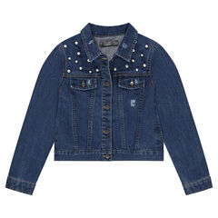 Junior - Veste en jeans effet used avec perles fantaisie
