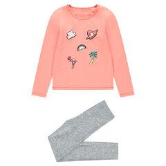 Pyjama en jersey bicolore avec prints fantaisie
